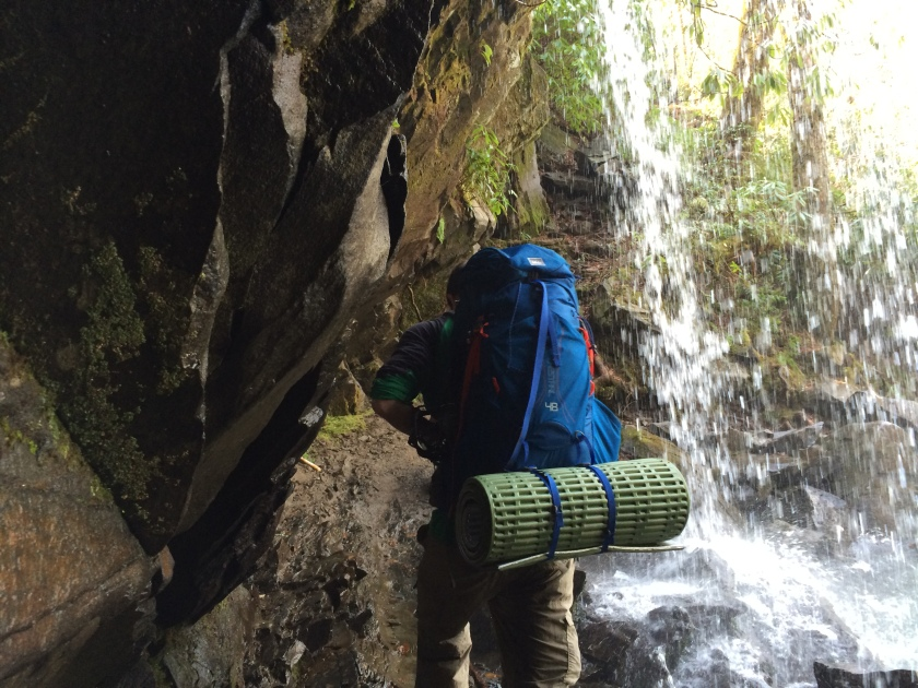 Crossing back through Grotto Falls on our (sunny) descent.